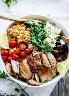 Save this healthy make-ahead lunch recipe to create a Balsamic Chicken Salad With Lemon Quinoa bowl for your weekday work lunch.