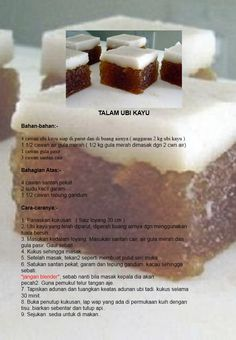 Talam ubi kayu Malaysian Dessert, Malaysian Food, Malaysian Recipes, Asian Snacks, Asian Desserts, Banana Bread Brownies, Malay Food, Snacks Dishes, Snack Recipes