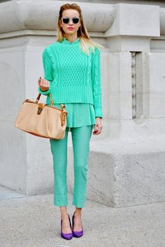 mint green outfit with purple shoes