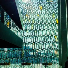 """This is the view inside the Reykjavik concert hall, The Harpa."""""""