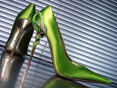 Gianmarco Lorenzi bright neon green gold high heel pointed toe snake