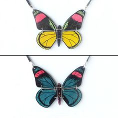 Reversible necklace made in recycled CD : Articulated Butterfly, Blue Pink and Black / Yellow Pink Green and Black - by Savousepate