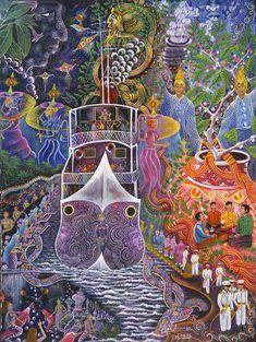 Pablo Amaringo Painting - Barco Fantasma by Pablo Amaringo