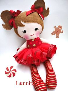 Holiday doll Handmade cloth dollChristmas by lunnitastudio on Etsy