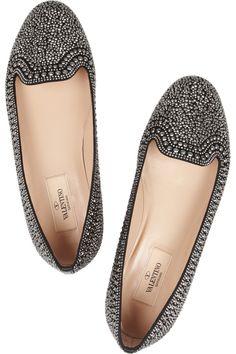 Valentino|Embellished suede loafers |NET-A-PORTER.COM