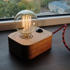 Edison Lamp,Wood Lamp,Wooden Edison Lamp,Table Lamp,Solid Wood Lamp,Retro Lamp,Night Lamp