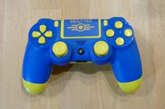 Custom Vault-Tech Playstation 4 Dual Shock 4 controllers with custom PS Fallout Boy PS button, custom light bar. These were found by dogmeat, in the