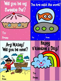 #FREE printable Valentines for kids! Great for school! Download them here -> valentines3- http://cl.ly/2B0R3V0s1o1Q1f1V0J1X    #free #printable #valentine #valentines #valentinesday #ufo #kids #sweetiepie #pirate #rainbow #love #willyoubemine #jelene #popart