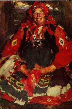 РУССКИЙ ХУДОЖНИК АРХИПОВ АБРАМ ЕФИМОВИЧ (1862 - 1930) / Крестьянка в зеленом фартуке