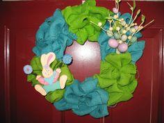 12 handmade Easter burlap wreath blue and green by WreathsbyJeanna, $45.00