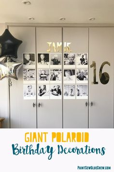GIANT POLAROID PICTURE decorations are easily configured on a computer and printable on a standard home printer. They make easy effective party decorationsfor a 16th, 18th or 50th birthday.  They would also work well for graduation,or even wedding or engagement party decorations. Pin for later or head to the blog for more detailed instructions #easypartydecorations #partydecordiy #giantpolaroid #homemadepartydecorations #giantpolaroiddiy #uniquepartyideas #birthdaydecorations. #polaroidideas