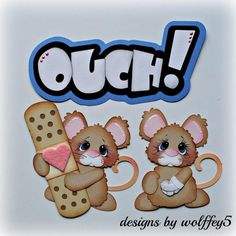 ELITE4U MICE OUCH paper pieced premade scrapbook page album die cut WOLFFEY5 #HANDMADE