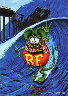 rat fink ed big daddy roth rat surfing