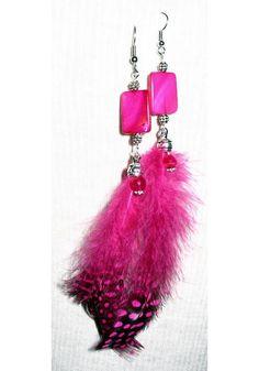 Fuschia Feather Earrings $15.00
