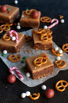 Caramel Pretzel Brownies, Sweet Recipes, Cake Recipes, Blondie Brownies, Just Eat It, Sweet Pastries, Sweet Sweet, Yummy Cakes, No Bake Cake