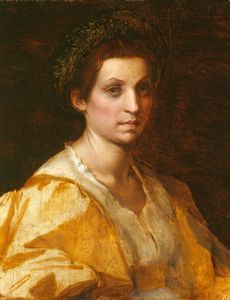 Artist 	  Andrea del Sarto (1486–1530)   Title 	Portrait of a woman in yellow  Date 	circa 1529 - 1530  Medium 	oil on canvas  Current location 	Royal Collection  http://commons.wikimedia.org/wiki/File:Andrea_del_Sarto_015.jpg
