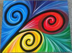 RAINBOW KORU BY HELEN BLAND Art Patterns, Pattern Art, Hall Painting, Polynesian Art, Maori Designs, New Zealand Art, Cat Paintings, Maori Art, Kiwiana