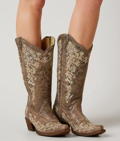 Corral Embroidered Cowboy Boot - Women's Shoes in LD Brown   Buckle