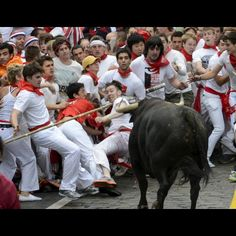 Pamplona. 7.9.2012. The Running of the bulls in San Fermin Festival