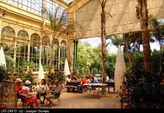 People at the courtyard of a cafe, Umbracle, Parc de la Ciutadella, Barcelona, Spain