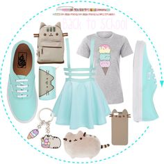 A fashion look from August 2016 by amygaga featuring Pusheen, Vans, contestentry and PVxPusheen