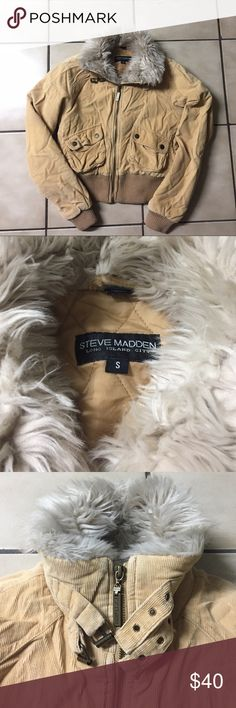 Steve Madden Corduroy Beige Fur Coat Faux fur crop utility coat. Could use a cleaning since it sat in storage for a year. Steve Madden Jackets & Coats Utility Jackets