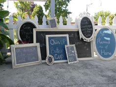I have gone a little chalkboard crazy lately buying up picture frames and fancy mirrors. I used black brush on chalkboard paint at first. Picture Frame Chalkboard, Framed Chalkboard, Picture Frames, Spring Projects, Home Projects, Projects To Try, Funky Furniture, Upcycled Furniture, Fancy Mirrors