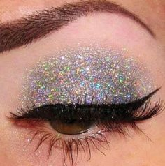 Silver glitter eye shadow.
