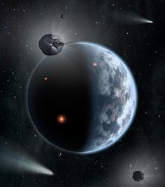 "NASA concept art depicts: ""the fate of two different planets: the one on the left is similar to Earth, made up largely of silicate-based rocks with oceans coating its surface. The one on the right is rich in carbon — and dry. Chances are low that life as we know it, which requires liquid water, would thrive under such barren conditions"