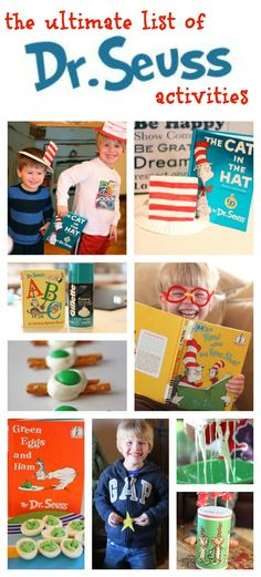 The Ultimate List of Dr. Seuss Activities!  So many fun ideas! Dr Seuss Birthday, Birthday Bash, Classroom Activities, Activities For Kids, Crafts For Kids, Dr Seuss Activities, Educational Activities, Preschool Crafts, Library Activities