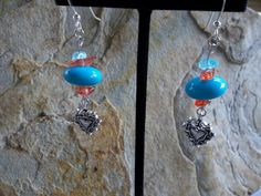 Turquoise with Heart Turquoise colored beads by RoseFireDesigns, $20.00