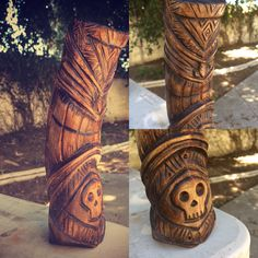 Tiki #4, designed and carved by me! Birch wood, charred and stained. Tiki George, 2015.