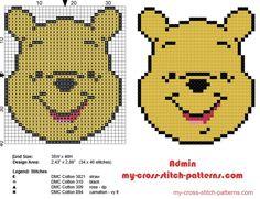 Winnie The Pooh face small cross stitch pattern baby bib idea
