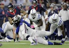 Houston Texans' Arian Foster (23) is stopped by - Houston Texans' Arian Foster (23) is stopped by Indianapolis Colts' Jonathan Newsome (91) during the first half of an NFL football game Thursday, Oct. 8, 2015, in Houston. (AP Photo/Patric Schneider)