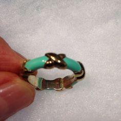 Authentic Tiffany Blue Enamel Ring, Size 4.5