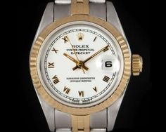 Rolex Datejust Ladies Stainless Steel & 18k Yellow Gold White Roman Dial 69173 Rolex Datejust, Luxury Watches, Gold Watch, Roman, Stainless Steel, Diamond, Yellow, Accessories, Fancy Watches