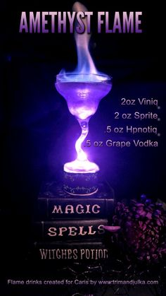 Amethyst Flame created by Brenda and Tami at the to celebrate the Flame Series at the request of Author Caris Roane. Amethyst Flame created by Brenda and Tami at the to celebrate the Flame Series at the request of Author Caris Roane. Halloween Cocktails, Holiday Drinks, Summer Drinks, Disney Cocktails, Alcholic Halloween Drinks, Halloween Party, Mixed Drinks Alcohol, Alcohol Drink Recipes, Fireball Recipes