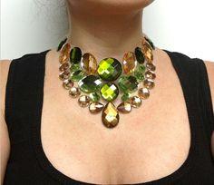 bib necklace green bib ghost necklace bridal or by BienBijou, $24.00