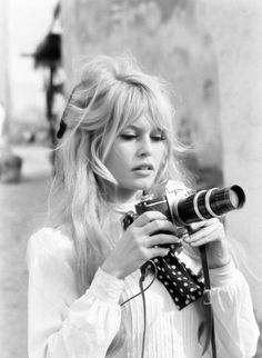 Bridgette Bardot half up half down blonde bangs fringe long vintage retro hair style
