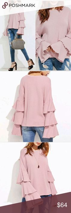 NEW! Pretty in Pink Layered Ruffle Sleeve Sweater This is one of my most stunning tops!   Beautiful Pink Color  Layered Ruffle Sleeve Loose Pullover  High Quality Thin Knit Sweater  Material: Polyester Wash Cold Water - Do not Bleach  Hang Dry - Lay Flat or Low Temperature in Dryer  Price is Firm No Exceptions  No Trades  Fast Shipping Moda Ragazza  Tops Blouses
