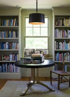 built-in bookshelves on either side of the window