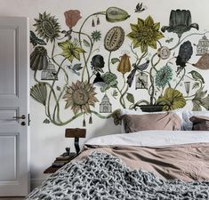 You spend a lot of time in your bedroom, so why not make it extra special? Bouquet wallpaper by Olaf Hajek. House Design, Painted Floors, Homey, Wallpaper, Art Decor, Wall Murals, Wall, Floral Wallpaper, Popular Wallpaper