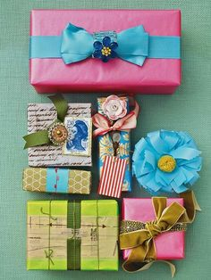 Bright and colorful packages with unexpected embellishments. {BHG}