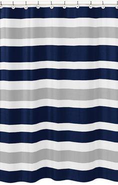 Sweet Jojo Designs Navy And Gray Stripe Kids Bathroom Fabric Bath Shower Curtain