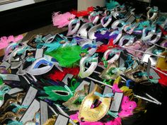 A masquerade ball themed bat mitzvah, these masks served as the place cards for the event and everyone was asked to wear them upon entry to the ball.
