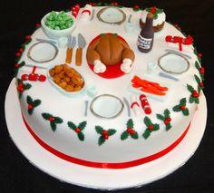 Fondant Christmas Cake, Mini Christmas Cakes, Christmas Cake Designs, Christmas Cake Decorations, Holiday Cakes, Christmas Desserts, Xmas Food, Christmas Cooking, Super Torte