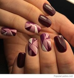 Geometric gel nails with brown