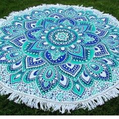 Blue Green Ombre Blossom Floral Mandala Roundie – TheNanoDesigns