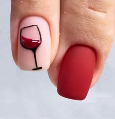 Trendy nails design vino wine ideas - Nageldesign - - DIY And Crafts Wine Nails, Red Nail Art, Purple Nail, Red Nail Designs, Rhinestone Nails, Perfect Nails, Trendy Nails, Acrylic Nails, Art Nails