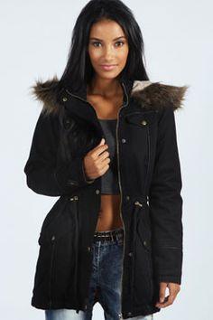 Alia Faux Leather Fur Trim Parka at boohoo.com